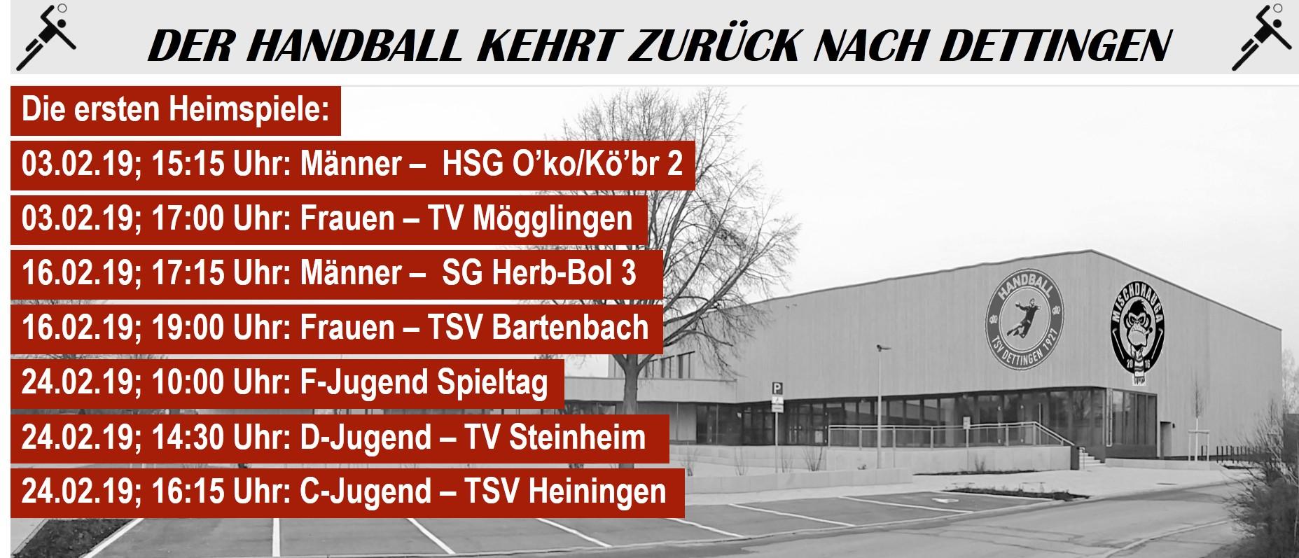 Der Handball kehrt zurück nach Dettingen