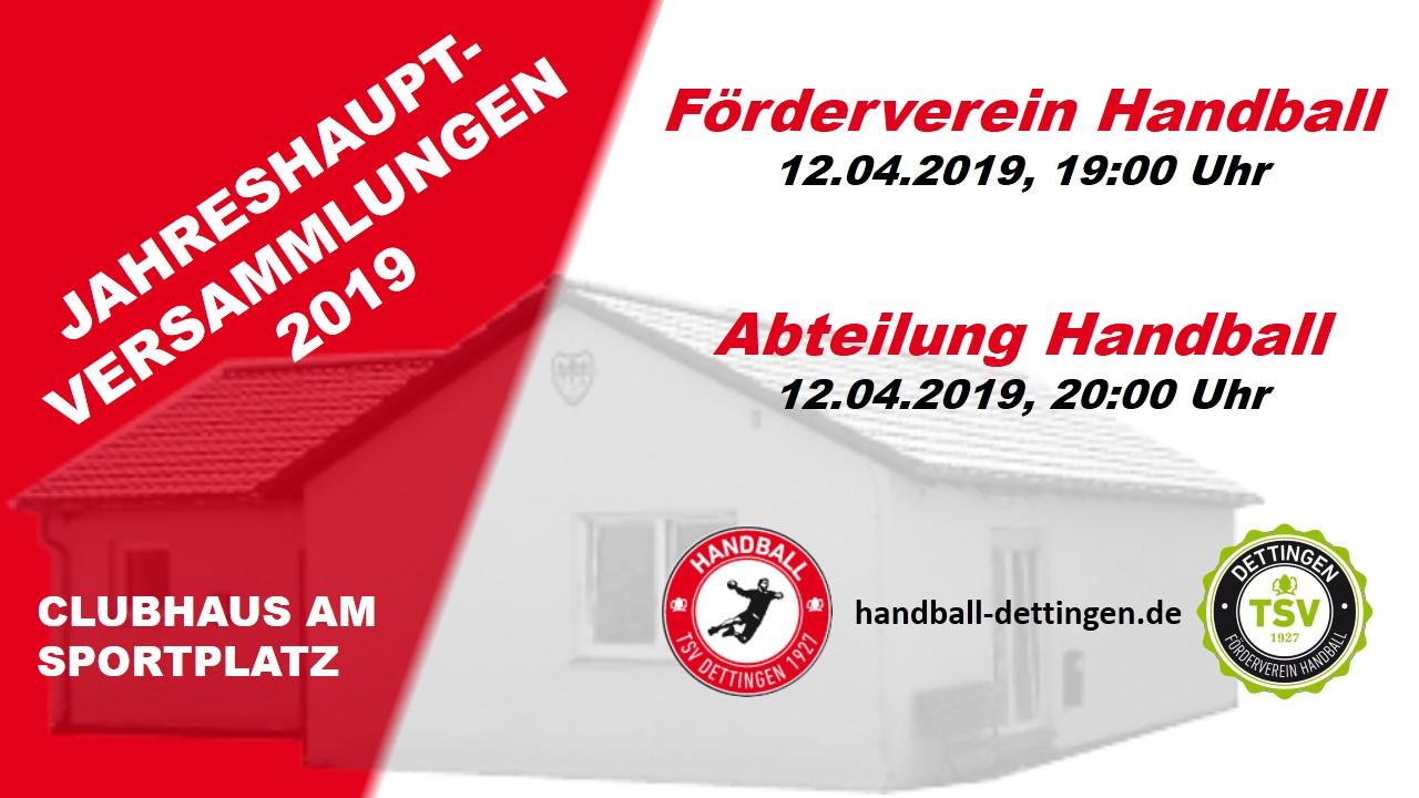Einladung zur Jahreshauptversammlung 2019 der Abteilung Handball